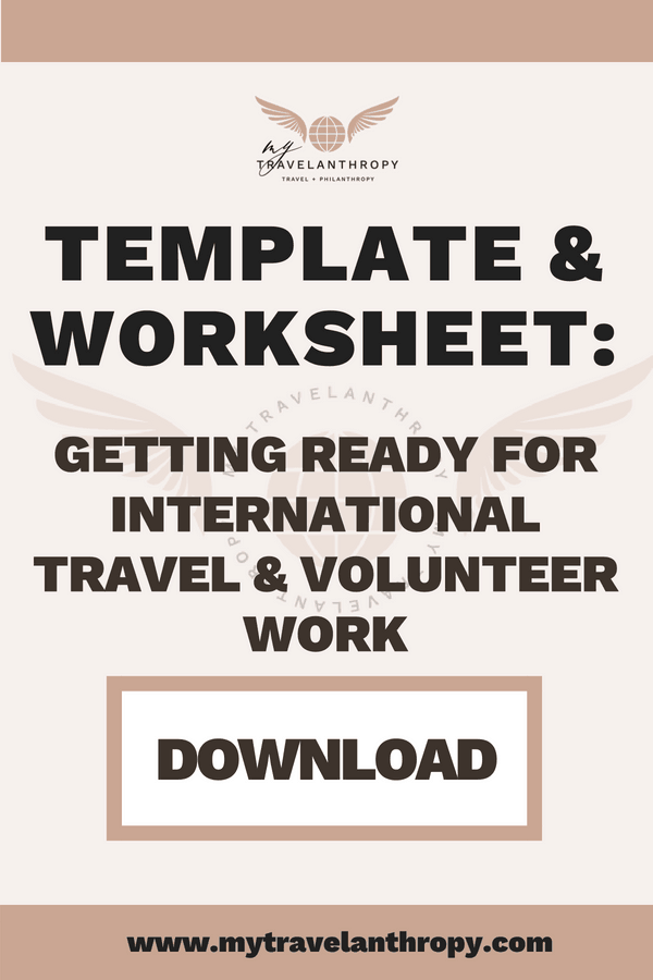 Template and Worksheet - Getting ready for international travel and volunteer work