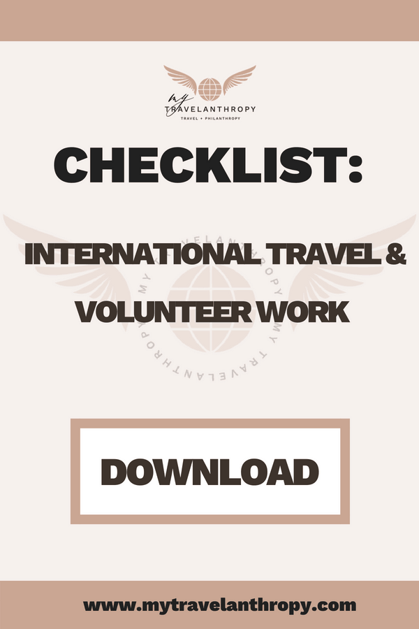 Checklist - International travel and volunteer work - Mytravelanthropy