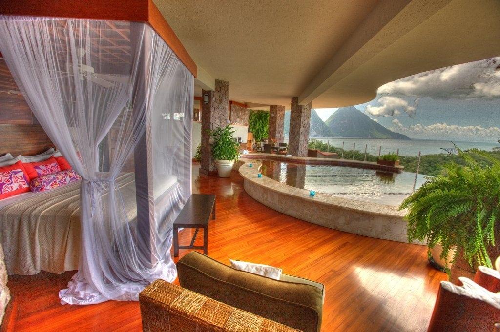 jade mountain resort st. lucia bedroom