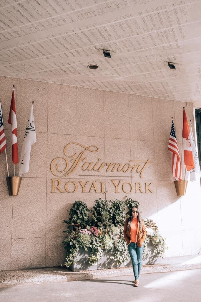 fairmont royal york entrance girl standing